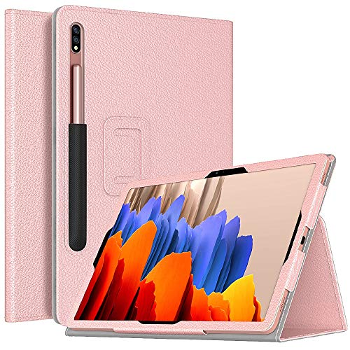 TiMOVO Case for All-New Samsung Galaxy Tab S7 Plus 12.4 Inch Tablet (SM-T970/T975/T976), Slim Lighweight PU Leather Stand Folio Cover Fit Galaxy Tab S7 Plus 2020 Tablet, Rose Gold