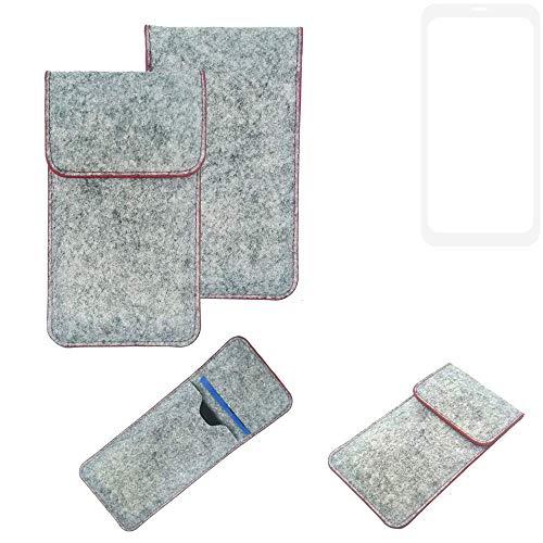 K-S-Trade® Handy Schutz Hülle Für Nubia Z18 Schutzhülle Handyhülle Filztasche Pouch Tasche Hülle Sleeve Filzhülle Hellgrau Roter Rand