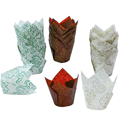 Resinta 150 Pieces Tulip Baking Cups Cupcake Muffin Liners Wrappers for Parties Weedings Anniversaries in 3 Patterns