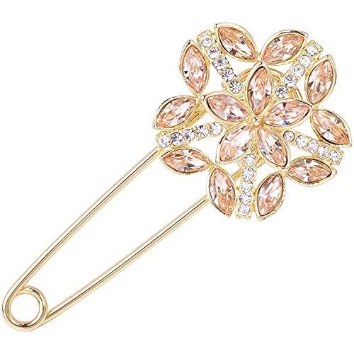 Cristal transparente Trébol de cuatro hojas Flor floreciente Broche de seguridad grande Cárdigan Sombrero Bufanda Alfileres Ramillete de boda Joyería
