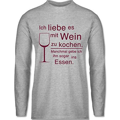 Shirtracer Küche - Ich Liebe es mit Wein zu Kochen - M - Grau meliert - BCTU005_Herren_Langarm - BCTU005 - Herren Langarmshirt