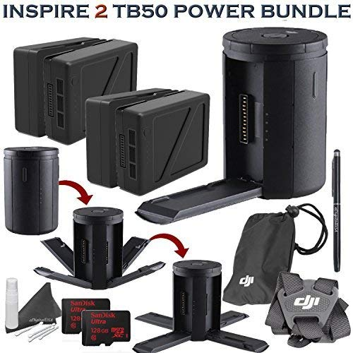 DJI Inspire 2 TB50 Platinum Accessory Bundle: Includes 4X TB50 Batteries (4820mAh) w/Inspire 2 Charging Hub, Remote Controller Strap, 2X 128GB MicroSD Cards and More.
