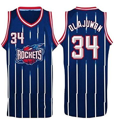 Camiseta de baloncesto para hombre, Rockets No. 34 Olajuwon, camiseta de baloncesto para fiesta, hip-hop, transpirable y de secado rápido sin mangas