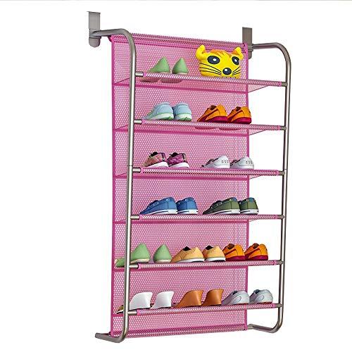 IBEQUEM Organizador de zapatos sobre la puerta para colgar zapatos de 6 niveles, gancho de metal para colgar en la pared, color rosa