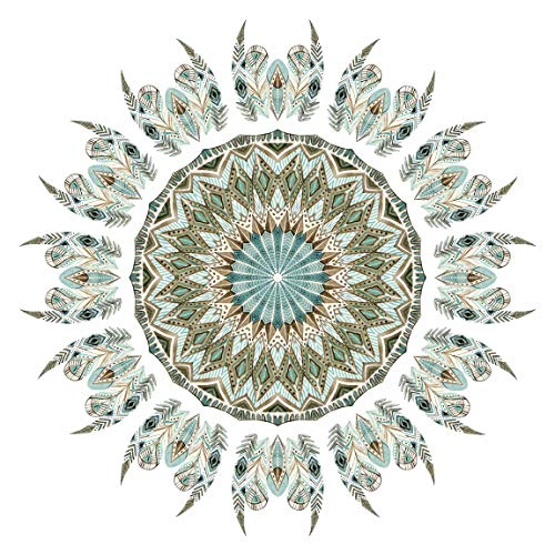 Bilderwelten Wandtattoo selbstklebend - Mandala Aquarell Federn blau grün 120 x 120cm