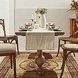 DAPU Tischläufer Leinen, Abwaschbare Tisch Läufer aus reinenm Leinen 40×140cm, Moderne Einfarbige Tischdecke Leinenoptik für Essentisch Hochzeit Party Beige - 6