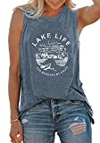 VILOVE Women Graphic Tees Summer Vacation Tank Tops Lake Life Letters Print T Shirt Funny Saying Sleeveless Casual Vest Tee (Light Blue, Small)