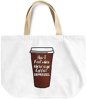 Loud Universe Expresso Depresso Funny Coffee Sarcastic Quote Reusable Tote Bag, 30 x 30 x 10 cm, Multicolor