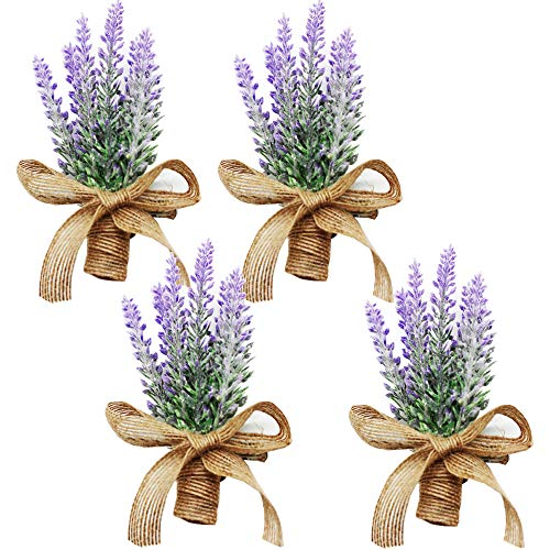 Yokoke Artificial Flowers Boutonniere Bouquet Corsage Wristlet 4 Pcs Nearly Natural Fake Purple Plant with Burlap Bow for for Wedding Church Party Home Decor