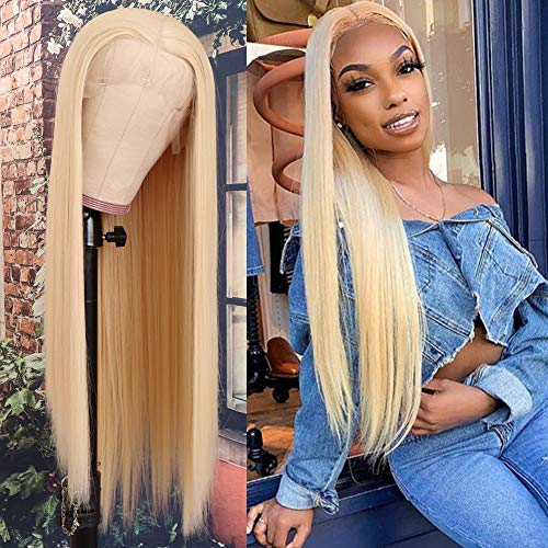 QD-Tizer Blonde Hair Lace Front Wig Long Straight Blonde Wig Natural Hair Heat Resistant Fiber Hair Synthetic Lace Front Wigs for Fashion Women 22 inch