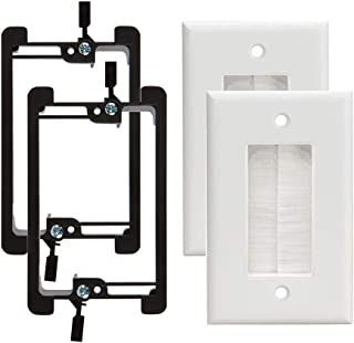 Brush Wall Plate [UL Listed], 2Pack Single Gang Brush Style Opening Passthrough Cable Plate with Low Voltage Mounting Bracket Device (White)