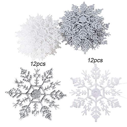 BUONDAC (Dia.10cm) 24 pz Fiocchi di Neve Decorazione dell'Albero di Natale con Glitter di Plastica Appendere Ornamenti Festa Domestica (Bianco + Argento)