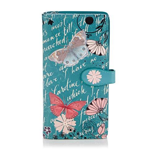 Shagwear ® Portemonnaie Geldbeutel Damen Geldbörse Mädchen | Bifold Mehrfarbig Portmonee Designs: (Klassische Blüten Schmetterlinge Blaugrün/Vintage Butterfly)