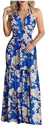 LYDIANZI Mujeres De Verano Playa Sundress Sundress Tropical Floral Gráfico Vestido Largo Halter Sin Espalda Cintura Alta Ruffle Maxi Vestido(Size:Pequeña,Color:Azul)