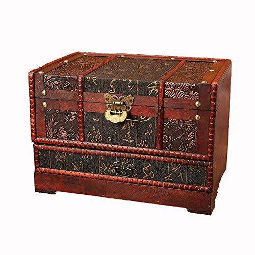 ZDAMN Maletas Vintage Cajas de joyería de la Vendimia de Almacenamiento Caja de la decoración Retro clásico Espejo Caja de Vestir para Dormitorio (Color : Marrón, Size : 28x19.5x19.5cm)