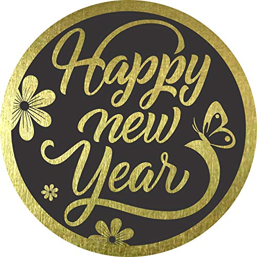 """Happy New Year Stickers 2021 Seals Labels (Pack of 120) 2"""" Large Round Gold Foil Stamping on Black for Cards Gift Envelopes Boxes"""