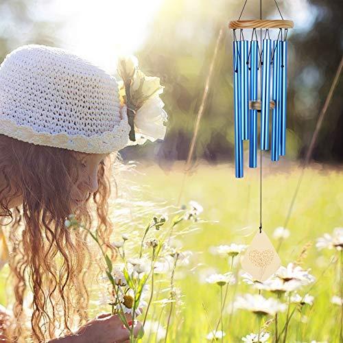 Lemecima Windspiel Garten Klangspiel für Draußen Glockenspiel Windspiel mit Klare Stimme 6 Rohre Windspiel Metall für Heimdekoration Geschenk Einfache Installation(Blau)