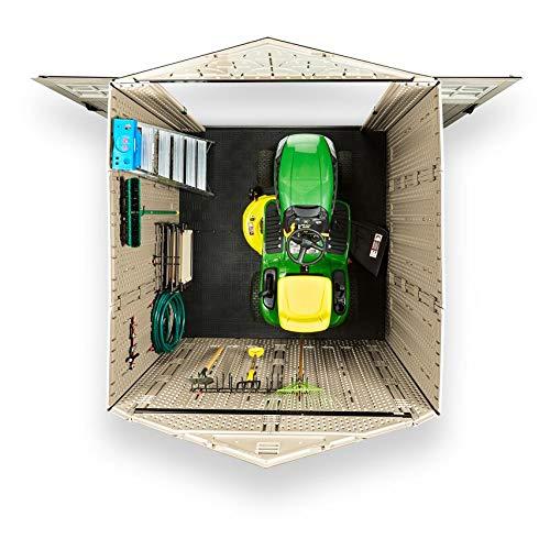 Rubbermaid Outdoor Storage Shed, 7X7 feet, Resin Weather Resistant Outdoor Garden Storage Shed for Backyard, Garden, Tool Storage, Lawn, Garage Organizer, Sandstone
