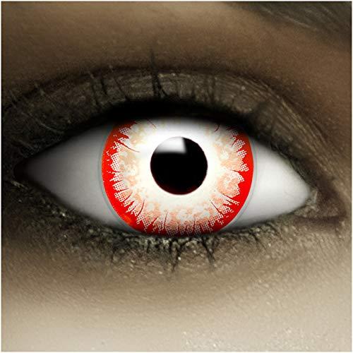 Farbige Kontaktlinsen ohne Stärke Zombie Clown + Kunstblut Kapseln + Kontaktlinsenbehälter, weich ohne Sehstaerke in weiß schwarz rot, 1 Paar Linsen (2 Stück)