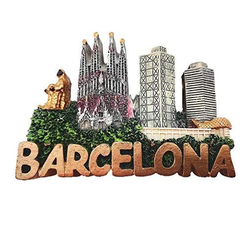 Imán para nevera 3D de Barcelona, España, recuerdo con letras estilo recuerdo, decoración del hogar y la cocina, imán para nevera