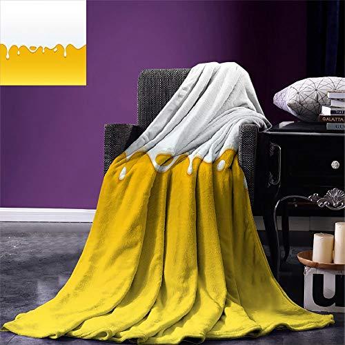 Gooi deken geel en wit druipen witte melk crème verf yoghurt op geel honing achtergrond print geel wit gezellig 102x127Cm fleece deken zachte gooi deken