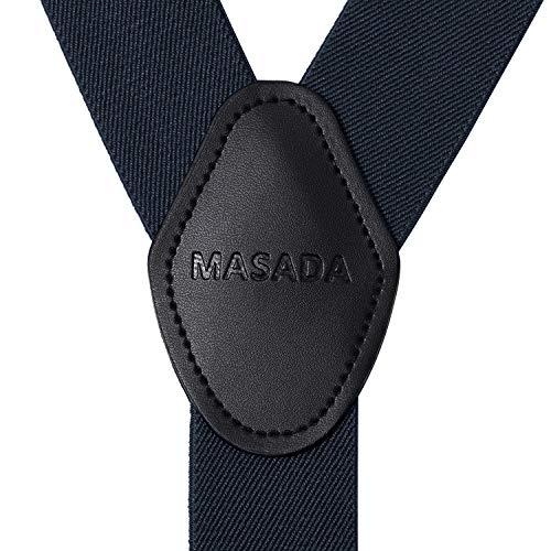 MASADA Bretelle da uomo chiusura a moschettone resistenti 3,5 cm di larghezza fino a 195 cm di altezza - blu scuro