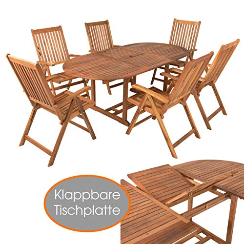 ESTEXO Akazienholz Gartenmöbel Set mit Gartentisch ausziehbar und 6 Klapp Stühlen