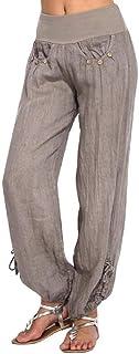 U/A Pantaloni Donna Pantaloni Tinta Unita Lino in Cotone Pantaloni Larghi Larghi Casuali Pantaloni Sportivi da Donna