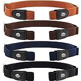 4 Piezas de Cinturón Elástico sin Hebilla Cinturón Invisible de Unisex para Pantalones Vaqueros (Plateado)