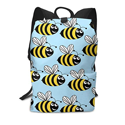 Homebe Bee Cute Art Blue Charm Mochila Unisex, Mochilas y Bolsas School Travel Hiking Small Gym Teen Little Girls Youth Boy Women Men Kids Backpack Mini Book Back Bag Bookbag