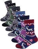 ProEtrade Wool Socks for Kids Toddlers Boys Girls Thick Warm Winter Hiking Heavy Thermal Cozy Crew Boot Gift Socks 6 Pack(Deer,4-7 Y)