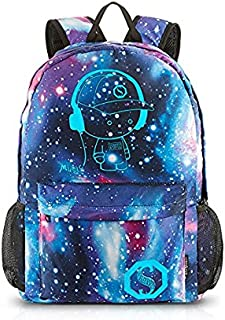 School Backpack Cool Unisex Canvas Anime Luminous Backpack with USB Cable & Lock & Pencil Bag (Blue)