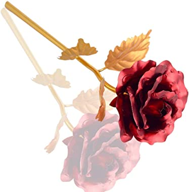 Lavanaya Silver Artificial Rose And Gift Box (Golden Red, 2 Pieces)