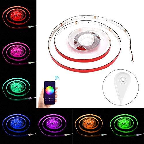 WiFi LED Light Strip, 2M RGB Light Strip met Draadloze Smartphonebesturing, Spraakbesturing, 12V 2A voor Planken, TV, Kasten, Trappen, Woonkamer, Slaapkamer,Feest(欧规)