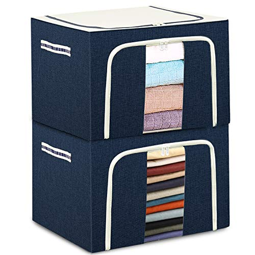 """Clothes Storage Bags Organizer Container - With Steel Frame 2X 72L, Tulab Foldable Oxford Bins Set, with Clear Window & Reinforced Carry Handles, Waterproof, Large Capacity for Closet, Bedding, Blanket (2-Pack, 20.07""""x 15.73"""" x 14"""") (Blue)"""