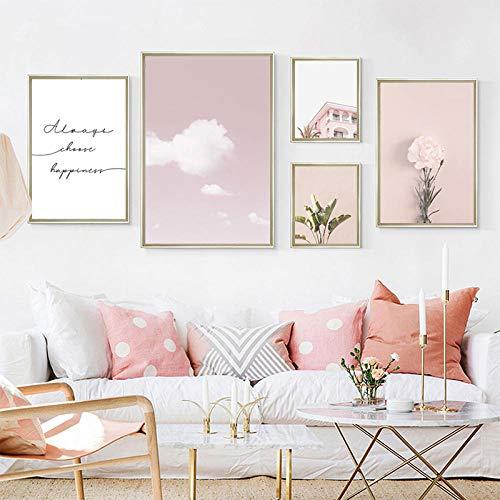 DCLZYF Casa Rosada Arte de la Pared Impresiones en Lienzo de Flores Póster de Pared Pinturas en Lienzo Decorativo para el hogar rosa-40x60cm-30x40cmx2-20x30cmx2 (sin Marco)
