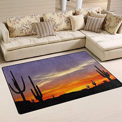 best bags Paillasson d'extérieur en Forme de Cactus Coucher de Soleil pour Porte d'entrée, grattoir, Porche, Garage, Haute Circulation, antidérapant, 60 cm (L) x 40 cm (l)