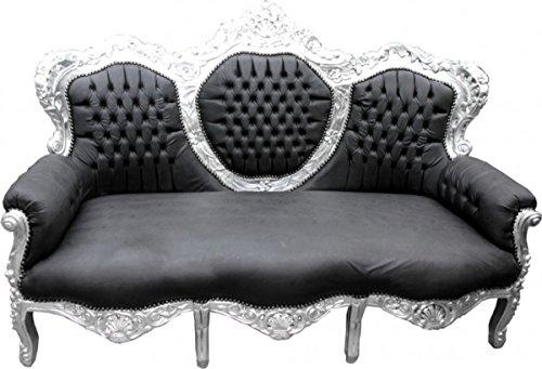 Barock Sofa King Schwarz Lederoptik/Silber - Wohnzimmer Möbel Couch Lounge