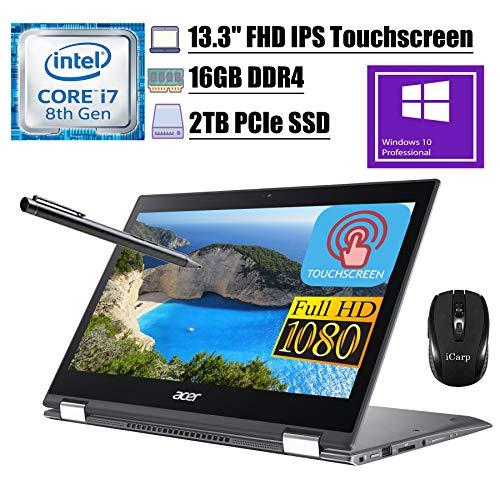 2020 Premium Acer Spin 5 13 2 in 1 Laptop 13.3'FHD IPS Touchscreen 8th Gen Intel Quad-Core i7-8565U up to 4.60 GHz 16GB DDR4 2TB PCIe SSD WiFi Webcam Stylus Pen Win 10 Pro + iCarp Wireless Mouse