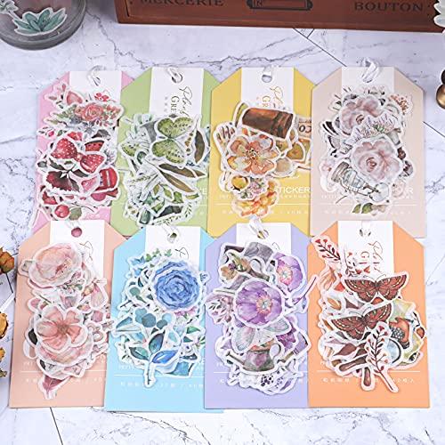 Dizdvizd Pegatinas Stickers Scrapbooking, Juego de 320 Hojas de Pegatinas Vintage Translúcidas, Pegatinas de Flores Plantas Objetos Viejos para Bullet Journal, Tarjetas, Sobres, Diarios Pegatinas
