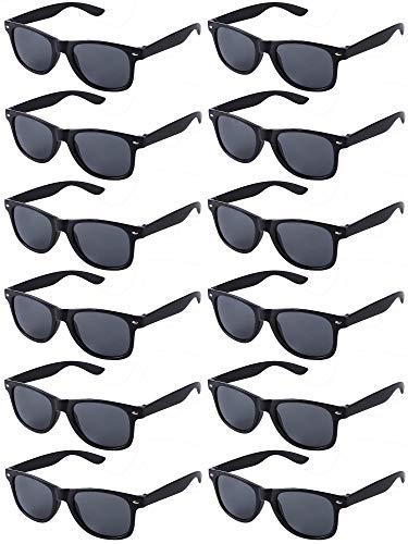 LFYXCW Paquete de 12 Gafas de Sol de Fiesta de Colores Retro Vintage para Adulto (12 negro)