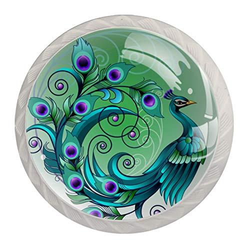 Tirador de manijas de cajón para el hogar, cocina, tocador, armario,Arte hermoso pavo real verde