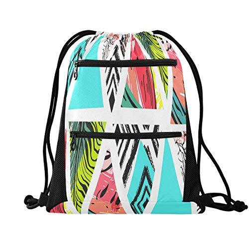 HMZXZ RXYY Tropical Watermelon Palm Leaves Drawstring Gym Bagwith zip pocket Sackpack Drawstring Cinch Backpack Sport Rucksack Daypack Travel Yoga for Men Women Boys Girls