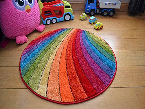 Rainbow Circle Thick Childrens Colourful Rug