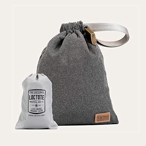 loctote AntiTheft Sack 3 Liter kleine schnittfeste Diebstahl Schutz Tasche mit Schloss, Farbe:grau