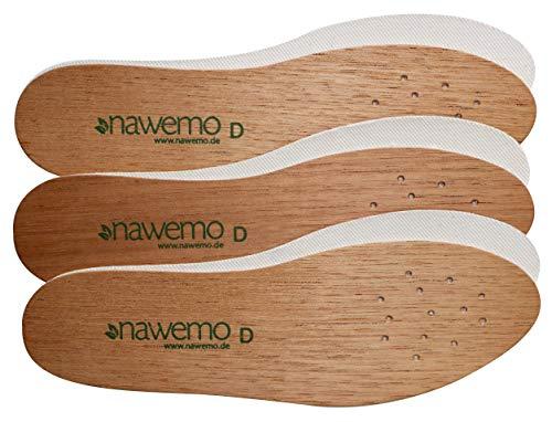 Nawemo 3er Pack/3 Paar Zedernholzsohlen Damen, antibakterielle Zedernholz Einlegesohlen gegen Schweißfüße, Fußgeruch, Fußpilz und Nagelpilz, dünne Einlegesohlen braun, Größe 38EU