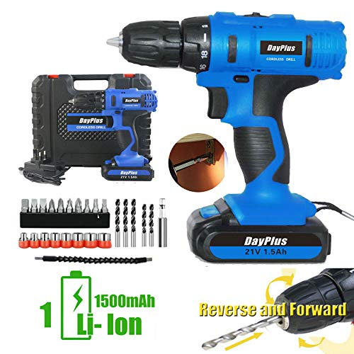 Electric Drill Cordless Drill Lithium Ion Power Drill Set 21V Impact Screwdriver 18+1 Torque Variable Speed 29pcs Drill Bits Built-in LED Light for DIY Drilling Tool (1 Battery Kit)