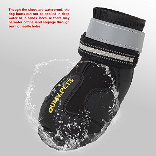 QUMY QUMY Dog Boots Waterproof Shoes for Large Dogs with Reflective Velcro Rugged Anti-Slip Sole Black 4PCS (Size 6: 2.9x2.5 Inch) Arizona