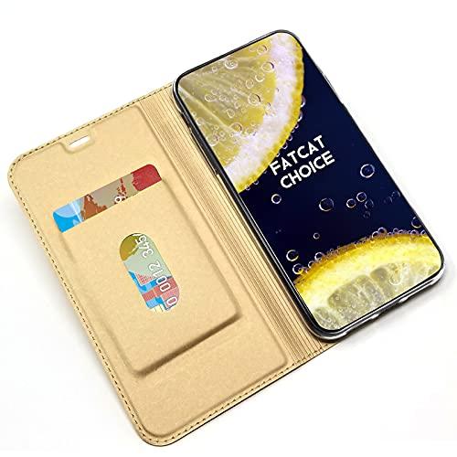 FatcatChoice Hülle für Xiaomi Mi Mix 2S, Leder Handyhülle Flip Wallet Hülle [Magnetisch Adsorption] Klapphülle mit Kartenfach Standfunktion Schutzhülle Lederhülle - Gold