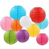 Farolillos de papel redondos de colores, paquete de 20 farolillos chinos redondos de papel multicolor para colgar con colores y tamaños surtidos para cumpleaños, bodas o decoración del hogar